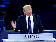 Washington, DC - March 21, 2016: Businessman and republican presidential candidate Donald Trump speaks to attendees of the AIPAC Policy Conference at the Verizon Center in the District of Columbia, March 21, 2016.  (Photo by Don Baxter/Media Images International)