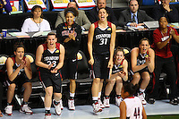 6 April 2008: Stanford Cardinal (L-R) Jillian Harmon, Jeanette Pohlen, Cissy Pierce, Morgan Clyburn, Hannah Donaghe, Ashley Cimino, and Melanie Murphy during Stanford's 82-73 win against the Connecticut Huskies in the 2008 NCAA Division I Women's Basketball Final Four semifinal game at the St. Pete Times Forum Arena in Tampa Bay, FL.