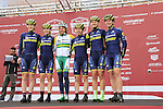 Orica-Scott team at sign on before the start of the Ladies 2017 Strade Bianche running 127km from Siena to Siena, Tuscany, Italy 4th March 2017.<br /> Picture: Eoin Clarke   Newsfile<br /> <br /> <br /> All photos usage must carry mandatory copyright credit (&copy; Newsfile   Eoin Clarke)