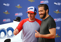 May 28, 2017; Indianapolis, IN, USA; Movie actor Jake Gyllenhaal (right) with Boston Marathon bombing survivor Jeff Bauman prior to the 101st Running of the Indianapolis 500 at Indianapolis Motor Speedway. Mandatory Credit: Mark J. Rebilas-USA TODAY Sports