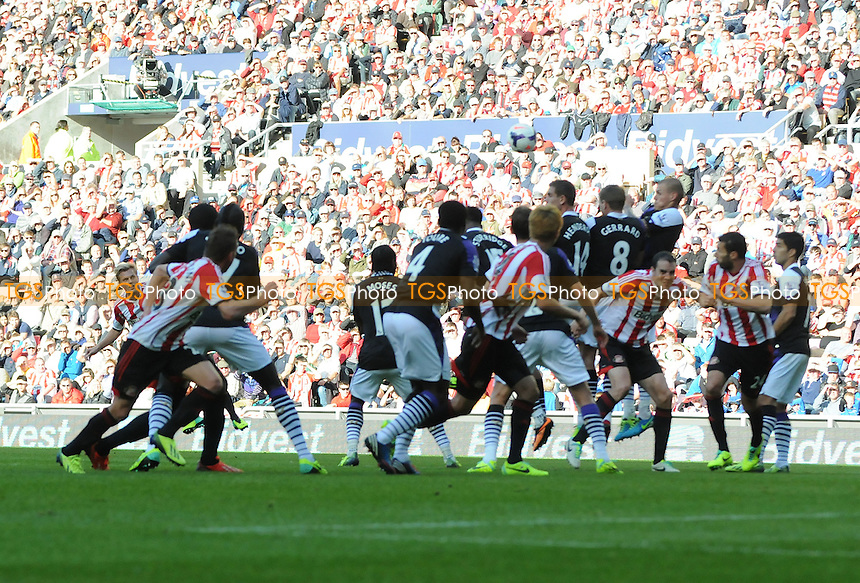 Sebastian Larsson of Sunderland hits the crossbar from a free kick - Sunderland vs Liverpool - Barclays Premier League Football at the Stadium of Light, Sunderland - 29/09/13 - MANDATORY CREDIT: Steven White/TGSPHOTO - Self billing applies where appropriate - 0845 094 6026 - contact@tgsphoto.co.uk - NO UNPAID USE<br />   i