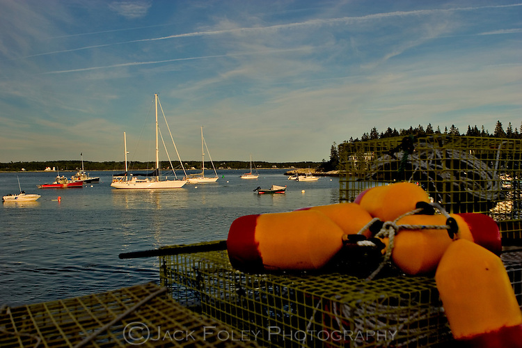 Lobster traps and bouys along shore in Sheepscot Bay.