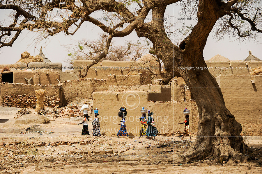 MALI,  Bandiagara, Dogonland, habitat of the ethnic group Dogon, Dogon village with clay houses and tree