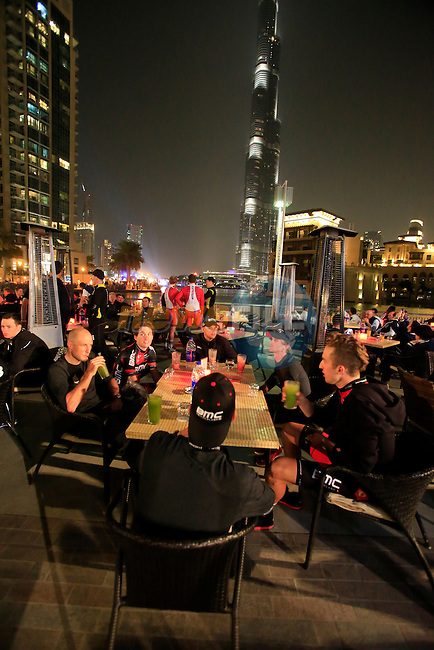 BMC Racing Team members wait for the opening ceremony of the inaugural Dubai Tour 2014 held in Emaar Burj Park at the foot of the Burj Khalifa Tower, Dubai. 4th February 2014.<br /> Picture: Eoin Clarke www.newsfile.ie