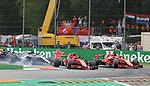02.09.2018, Autodromo di Monza, Monza, FORMULA 1 GRAN PREMIO HEINEKEN D'ITALIA 2018<br />,im Bild<br />Rennstart:<br />Kimi Raikkonen (FIN#7), Scuderia Ferrari, Sebastian Vettel (GER#5), Scuderia Ferrari, Lewis Hamilton (GB#44), Mercedes AMG Petronas Formula One Team, Valtteri Bottas (FIN#77), Mercedes AMG Petronas Formula One Team, Max Verstappen (NEL#33), Aston Martin Red Bull Racing, Daniel Ricciardo (AUS#3), Aston Martin Red Bull Racing<br /> <br /> Foto &copy; nordphoto / Bratic