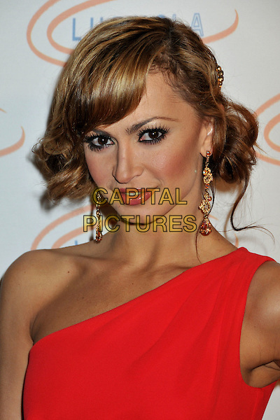 KARINA SMIRNOFF .6th Annual Lupus LA Hollywood Bag Ladies Luncheon at the Beverly Wilshire Hotel, Beverly Hills, California, USA, .07 November 2008..portrait headshot one shoulder red gold earrings .CAP/ADM/BP.©Byron Purvis/Admedia/Capital PIctures
