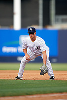 Tampa Yankees first baseman Mandy Alvarez (34) during the first game of a doubleheader against the Bradenton Marauders on April 13, 2017 at George M. Steinbrenner Field in Tampa, Florida.  Bradenton defeated Tampa 4-1.  (Mike Janes/Four Seam Images)