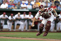 South Carolina catcher Robert Beary fields a bunt. South Carolina beat Florida 5-2 in Game 2 of the College World Series finals to win the title on June 28, 2011 in Omaha, Neb. (Photo by Michelle Bishop).