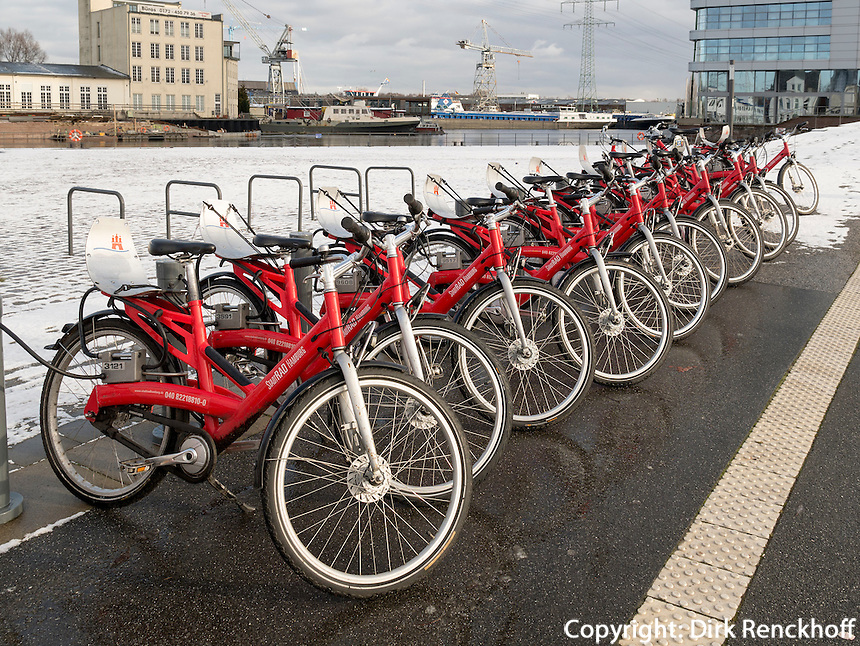 Stadtrad Leihfahrr&auml;der am Harburger Binnenhafen, Hamburg, Deutschland, Europa<br /> bicycle for rent at Harburg Harbour, Hamburg, Germany Europe