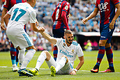 9th September 2017, Santiago Bernabeu, Madrid, Spain; La Liga football, Real Madrid versus Levante; Karim Benzema (9) of Real Madrid is helped to his feet by Lucas Vaazquez Iglesias (17) of Real Madrid