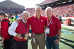 Peter Helf, left to right, Ted Kellner and Tony Canonie during an NCAA Big Ten Conference football game against the Maryland Terrapins Saturday, October 21, 2017, in Madison, Wis. The Badgers won 38-13. (Photo by David Stluka)