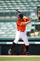 GCL Orioles second baseman Garrett Copeland (15) at bat during a game against the GCL Twins on August 11, 2016 at the Ed Smith Stadium in Sarasota, Florida.  GCL Twins defeated GCL Orioles 4-3.  (Mike Janes/Four Seam Images)