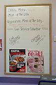 Handwritten menu board in the canteen, state secondary School.