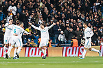 Cristiano Ronaldo of Real Madrid (L) celebrating the opening goal of Real Madrid with his teammates during the Europe Champions League 2017-18 match between Real Madrid and Borussia Dortmund at Santiago Bernabeu Stadium on 06 December 2017 in Madrid Spain. Photo by Diego Gonzalez / Power Sport Images