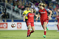 Cary, NC - Saturday April 22, 2017: Mallory Weber (26) releases the ball to Lindsey Horan (right) during a regular season National Women's Soccer League (NWSL) match between the North Carolina Courage and the Portland Thorns FC at Sahlen's Stadium at WakeMed Soccer Park.