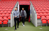 Lincoln City's Jack Payne, left, and Lincoln City's Max Melbourne arrive at the ground prior to the game<br /> <br /> Photographer Chris Vaughan/CameraSport<br /> <br /> EFL Leasing.com Trophy - Northern Section - Group H - Doncaster Rovers v Lincoln City - Tuesday 3rd September 2019 - Keepmoat Stadium - Doncaster<br />  <br /> World Copyright © 2018 CameraSport. All rights reserved. 43 Linden Ave. Countesthorpe. Leicester. England. LE8 5PG - Tel: +44 (0) 116 277 4147 - admin@camerasport.com - www.camerasport.com