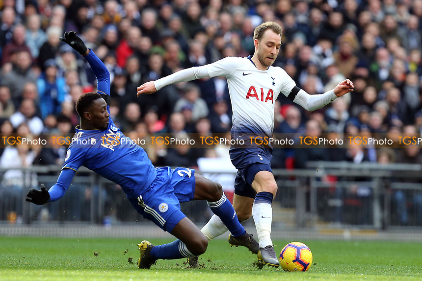 Wilfred Ndidi of Leicester City and Christian Eriksen of Tottenham Hotspur during Tottenham Hotspur vs Leicester City, Premier League Football at Wembley Stadium on 10th February 2019