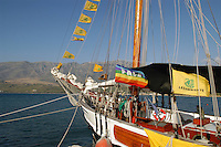 "- campaign ""Green Schooner"" for pollution monitoring in Italian seas waters, organized by enviromentalist association ""Legambiente""; the schooner ""Catholica"" (year of construction 1936) moored in the new tourist port of Valona (Albania)....- campagna ""Goletta Verde"" per monitorare l'inquinamento delle acque nei mari organizzata dall'associazione ambientalista italiana ""Legambiente""; la goletta ""Catholica"" (anno di costruzione 1936) ormeggiata nel nuovo porto turistico di Valona (Albania)"