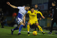 Fleetwood Town's Ross Wallace under pressure from Bristol Rovers' Ollie Clarke<br /> <br /> Photographer Kevin Barnes/CameraSport<br /> <br /> The EFL Sky Bet League One - Bristol Rovers v Fleetwood Town - Saturday 22nd December 2018 - Memorial Stadium - Bristol<br /> <br /> World Copyright © 2018 CameraSport. All rights reserved. 43 Linden Ave. Countesthorpe. Leicester. England. LE8 5PG - Tel: +44 (0) 116 277 4147 - admin@camerasport.com - www.camerasport.com