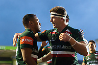 Telusa Veainu of Leicester Tigers celebrates his first try with team-mate Nick Malouf. European Rugby Champions Cup match, between Leicester Tigers and Castres Olympique on October 21, 2017 at Welford Road in Leicester, England. Photo by: Patrick Khachfe / JMP