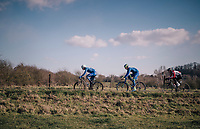 Niki Terpstra (NED/Quick-Step Floors) leading the leaders<br /> <br /> 50th GP Samyn 2018<br /> Quaregnon &gt; Dour: 200km (BELGIUM)