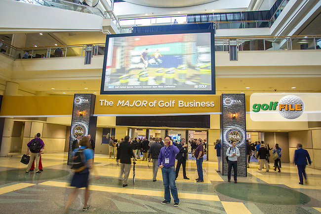 Visitors entering during the 2016 PGA Merchandise Show, from the Orange County Convention centre, Orlando, Florida. 26/1/16<br /> Picture: Mark Davison | Golffile<br /> <br /> <br /> All photos usage must carry mandatory copyright credit (&copy; Golffile | Mark Davison)