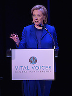 Washington, DC - June 17, 2014: Former Secretary of State Hillary Rodham Clinton speaks at the Vital Voices Global Leadership Awards at the John F. Kennedy Center in the District of Columbia, June 17, 2014.    (Photo by Don Baxter/Media Images International)