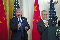 United States President Donald J. Trump claps after Liu He, China's vice premier delivers remarks prior to the signing a trade agreement between the United States and China in the East Room of the White House in Washington D.C., U.S., on Wednesday, January 15, 2020.  <br /> <br /> Credit: Stefani Reynolds / CNP/AdMedia