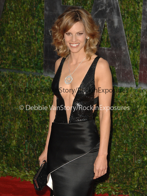 Hilary Swank attends The 2010 Vanity Fair Oscar Party held at The Sunset Tower Hotel in West Hollywood, California on March 07,2010                                                                                       © 2010 DVS / RockinExposures..
