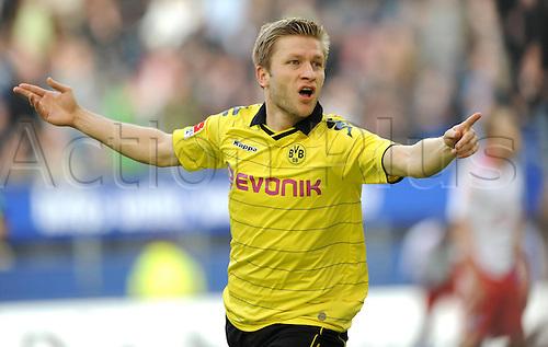 09 04 2011   Bundesliga Hamburg SV Borussia Dortmund 1 1 cheering Jakub Cuba Blaszczykowski Borussia Dortmund After his goal