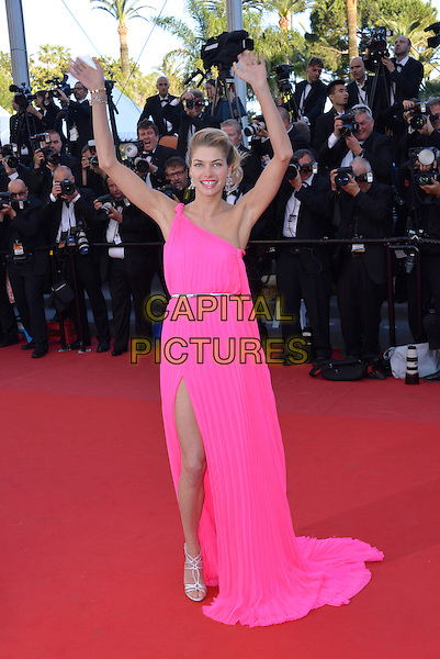 Jessica Hart.'Cleopatra' premiere at the 66th  Cannes Film Festival, France..21st May 2013.full length pink one shoulder dress slit split hands arms in air silver sandals belt .CAP/PL.©Phil Loftus/Capital Pictures.