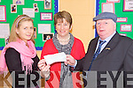 FUNDS: Niall Butler from Ballybunion presenting 1,000 to principal, Eily Walsh (centre) and teacher Bridin Butler at Scoil Iosagain in Ballybunion for the new autism unit at the school.