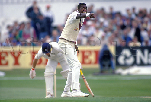June 1991, West Indies bowler CURTLEY AMBROSE appeals for the wicket of Smith LBW during the 1st test match between England and the West Indies at Headingley. Photo: Chris Barry/Action Plus..9106 cricket