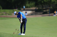 Thomas Pieters (BEL) on the 1st fairway during the 3rd round of the DP World Tour Championship, Jumeirah Golf Estates, Dubai, United Arab Emirates. 23/11/2019<br /> Picture: Golffile | Fran Caffrey<br /> <br /> <br /> All photo usage must carry mandatory copyright credit (© Golffile | Fran Caffrey)