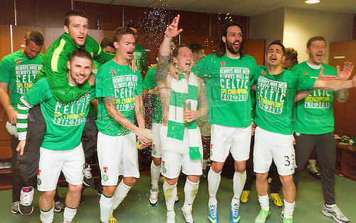 21.04.2013 Glasgow, Scotland.  The Celtic players celebrate their title win in the dressing room after the Scottish Premier League game between Celtic and Inverness Caledonian Thistle from Celtic Park.