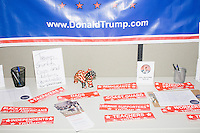 Patriotic decorations and pro-Trump signs hang in the Palm Beach Republican Club and West Palm Beach Victory Headquarters office in West Palm Beach, Florida. The office serves as a place for volunteers to gather and organize for various Republican campaigns, including Donald Trump's general election campaign.