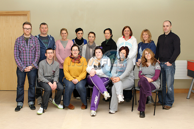 Community Workers Ciara Duffin, DYD, Vivienne Sheridan, DYD, Caroline Rothwell, Clondalkin Community, Edel Fairclough, DYD, Gemma Johnson, Southside/Boyne, Denise Tuohy, Boyne, Sinead McCourt, Boyne, Catherine Rennick, Community Garda, Anita O'Shea, Community Garda, Alan O'Donoghue, Cable, James Welsh, Cable, Stephen Hennessy, Southside/Boyne, Pamela Burns, Boyne and Colin Thornton, Community Drama Development Officer at the Drama Workhop in the Holy Family Community Centre in Ballsgrove....(Photo credit should read Jenny Matthews www.newsfile.ie)....This Picture has been sent you under the conditions enclosed by:.Newsfile Ltd..The Studio,.Millmount Abbey,.Drogheda,.Co Meath..Ireland..Tel: +353(0)41-9871240.Fax: +353(0)41-9871260.GSM: +353(0)86-2500958.email: pictures@newsfile.ie.www.newsfile.ie.