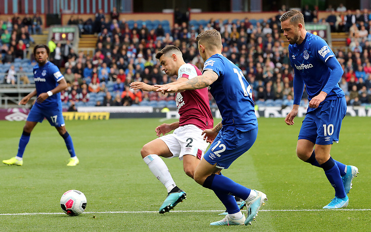 Burnley's Matthew Lowton vies for possession with Everton's Lucas Digne<br /> <br /> Photographer Rich Linley/CameraSport<br /> <br /> The Premier League - Burnley v Everton - Saturday 5th October 2019 - Turf Moor - Burnley<br /> <br /> World Copyright © 2019 CameraSport. All rights reserved. 43 Linden Ave. Countesthorpe. Leicester. England. LE8 5PG - Tel: +44 (0) 116 277 4147 - admin@camerasport.com - www.camerasport.com