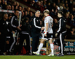 Nigel Adkins manager of Sheffield Utd checks on James McEveley of Sheffield Utd - English League One - Scunthorpe Utd vs Sheffield Utd - Glandford Park Stadium - Scunthorpe - England - 19th December 2015 - Pic Simon Bellis/Sportimage