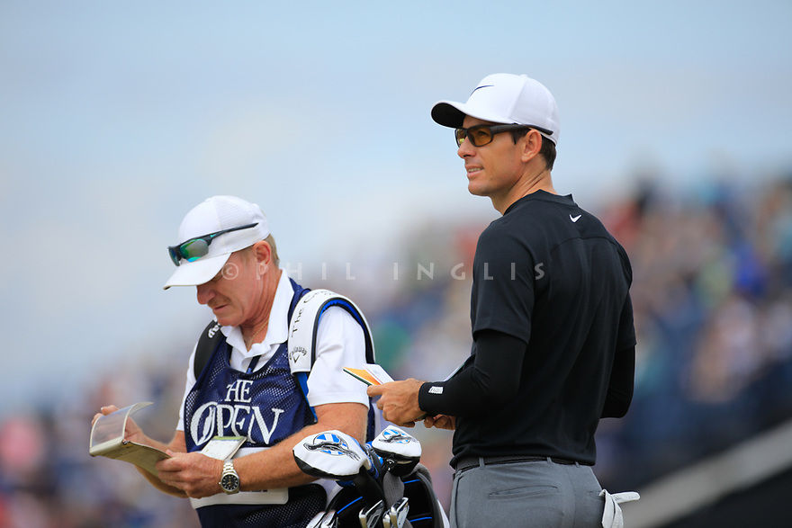 Dylan Frittelli (RSA) during the first round of the 147th Open Championship played at Carnoustie Links, Angus, Scotland. 19/07/2018<br /> Picture: Golffile | Phil Inglis<br /> <br /> All photo usage must carry mandatory copyright credit ©Phil INGLIS)