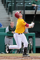 Adam Landecker (2) of the USC Trojans bats against the Jacksonville Dolphins at Dedeaux Field on February 19, 2012 in Los Angeles,California. USC defeated Jacksonville 4-3.(Larry Goren/Four Seam Images)
