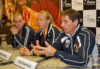 April 15, 2015, Netherlands, Den Bosch, Maaspoort, Fedcup Netherlands-Australia,   Press conference Dutch team, l.t.r.: Richel Hogenkamp, Kiki Bertens and captain Paul Haarhuis<br /> Photo: Tennisimages/Henk Koster