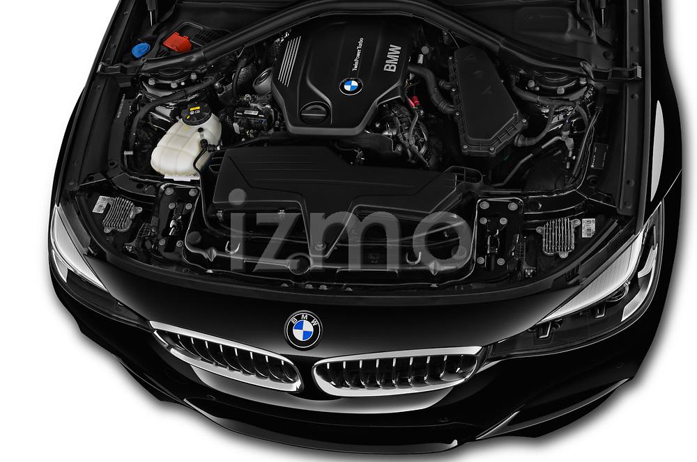 Car stock 2017 BMW 3 Series 330i GT M Sport 5 Door Hatchback engine high angle detail view