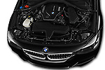 Car stock 2018 BMW 3 Series 330i GT M Sport 5 Door Hatchback engine high angle detail view
