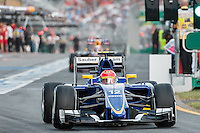 March 14, 2015: Felipe Nasr (BRA) #12 from the Sauber F1 Team leaves the pits for qualification at the 2015 Australian Formula One Grand Prix at Albert Park, Melbourne, Australia. Photo Sydney Low