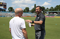Cary, North Carolina  - Saturday June 03, 2017: Vlatko Andonovski and Paul Riley prior to a regular season National Women's Soccer League (NWSL) match between the North Carolina Courage and the FC Kansas City at Sahlen's Stadium at WakeMed Soccer Park. The Courage won the game 2-0.