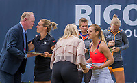"Den Bosch, Netherlands, 17 June, 2017, Tennis, Ricoh Open,  Woman's doubles Final : Dominika Cibulkova (SVK) / Kirsten Flipkens (BEL) (L) receive their trophy""s<br /> Photo: Henk Koster/tennisimages.com in the background Finalists Demi Schuurs and Kiki Bertens (R)"