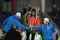 SCHAATSEN: HEERENVEEN: Thialf, KPN NK Sprint, 30-12-11, Hein Otterspeer, Stefan Groothuis, Sjoerd de Vries, ©foto: Martin de Jong.