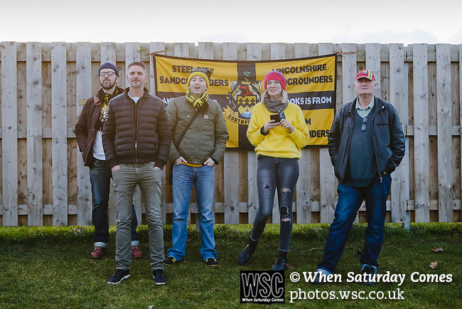 Southport fans. Darlington 1883 v Southport, National League North, 16th February 2019. The reborn Darlington 1883 share a ground with the town's Rugby Union club. <br /> After several years of relegations, bankruptcies, and ground moves, the club is fan owned, and back on an even keel in the National League North.<br /> A 0-0 draw with Southport was marred by a broken leg and dislocated knee suffered by Sam Muggleton, Darlington's on loan left back.<br /> Both teams finished the season in lower mid table.