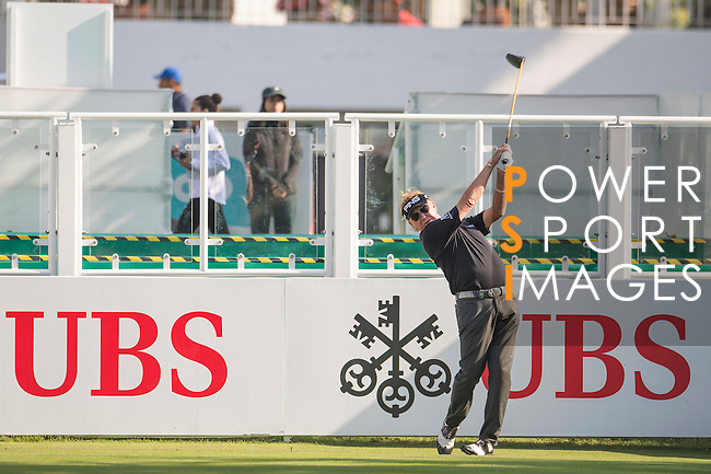 Miguel Angel Jiménez of Spain tees off the first hole during the 58th UBS Hong Kong Open as part of the European Tour on 08 December 2016, at the Hong Kong Golf Club, Fanling, Hong Kong, China. Photo by Marcio Rodrigo Machado / Power Sport Images